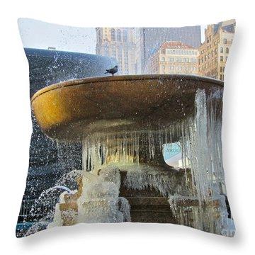Frozen Fountain Throw Pillow by Maritza Melendez
