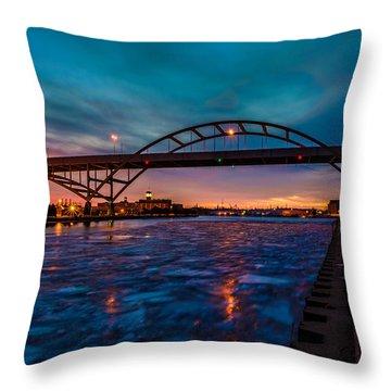 Frozen Hoan Bridge Throw Pillow by Randy Scherkenbach