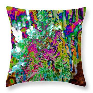 Throw Pillow featuring the digital art Frozen Juniper by Mae Wertz