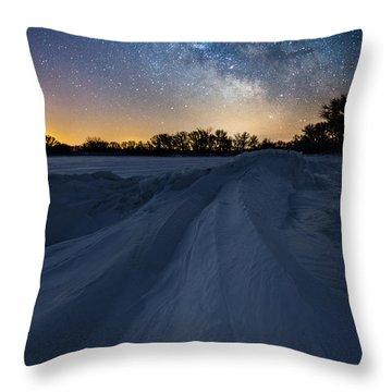 Frozen Lake Minnewaska Milky Way Throw Pillow