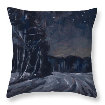 Throw Pillow featuring the painting Frozen New Year Morning by Nop Briex