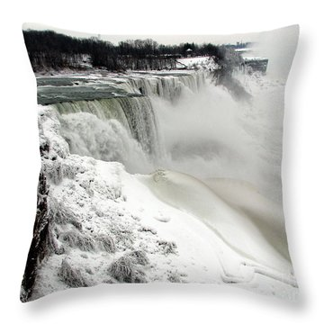Frozen Niagara And Bridal Veil Falls Throw Pillow