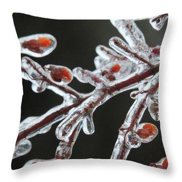 Frozen Red Berries Throw Pillow