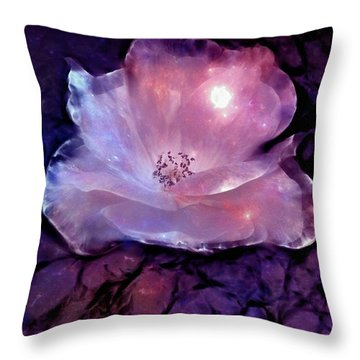 Frozen Rose Throw Pillow by Lilia D