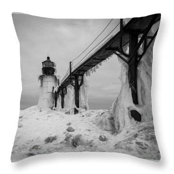 Frozen St. Joseph Lighthouse Throw Pillow