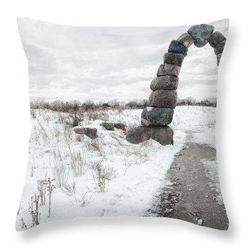Frozen Stone Arch Throw Pillow