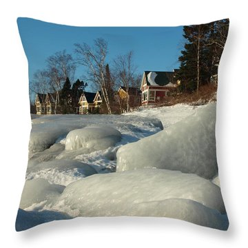 Throw Pillow featuring the photograph Frozen Surf by James Peterson