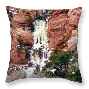 Frozen Waterfall Spring Crreek Trail Kanarraville Utah Throw Pillow by Deborah Moen