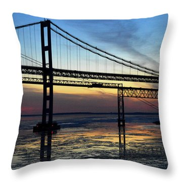 Throw Pillow featuring the photograph Frozen Waters Under The Bay Bridge by Bill Swartwout