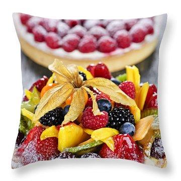 Fruit And Berry Tarts Throw Pillow