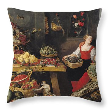 Fruit And Vegetable Market Oil On Canvas Throw Pillow by Frans Snyders