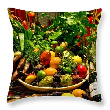 Throw Pillow featuring the photograph Fruit And Wine by Mae Wertz