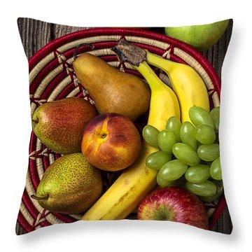 Fruit Basket Throw Pillow by Garry Gay