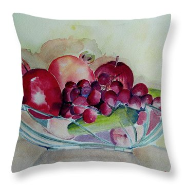 Fruit Bowl Still Life Throw Pillow by Geeta Biswas