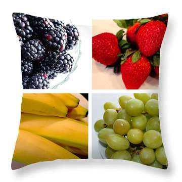 Fruit Collage Throw Pillow by Barbara Griffin