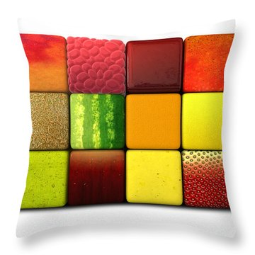 Fruit Cubes Throw Pillow by Allan Swart