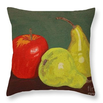 Fruit For Teacher Throw Pillow by Vicki Maheu