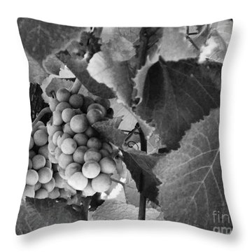 Fruit -grapes In Black And White - Luther Fine Art Throw Pillow