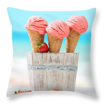 Fruit Ice Cream Throw Pillow by Amanda Elwell