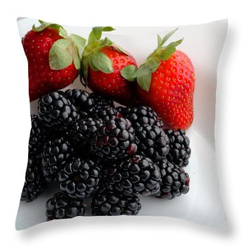 Fruit IIi - Strawberries - Blackberries Throw Pillow by Barbara Griffin