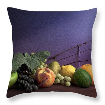 Fruit In Still Life Throw Pillow by Tom Mc Nemar