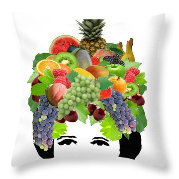 Fruit Lady Throw Pillow by Jennifer Schwab