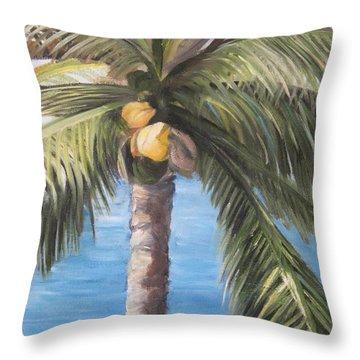 Fruit Of The Palm Throw Pillow by Roberta Rotunda
