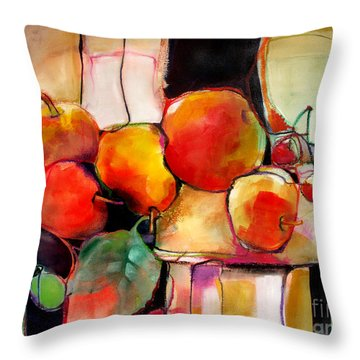 Fruit On A Dish Throw Pillow by Michelle Abrams