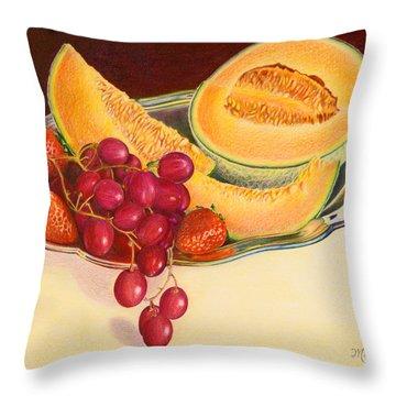Fruit Platter Throw Pillow by Mariarosa Rockefeller