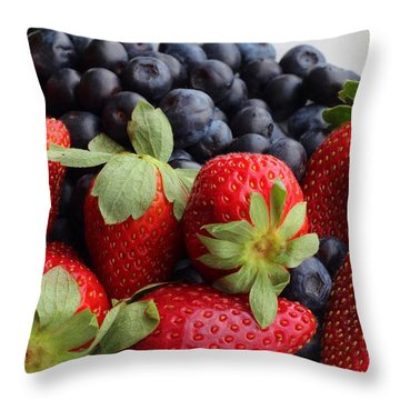 Fruit - Strawberries - Blueberries Throw Pillow by Barbara Griffin
