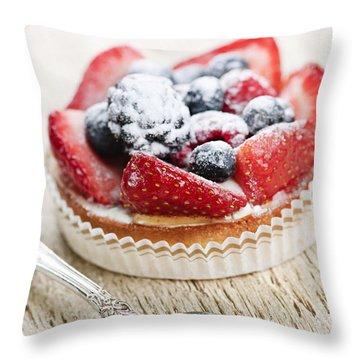 Fruit Tart With Spoon Throw Pillow