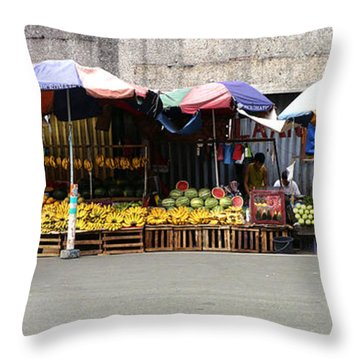 Fruit Vendors Manila Philippines Throw Pillow by Ron Roberts