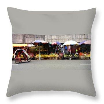 Fruit Vendors Manila Philippines Throw Pillow