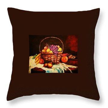 Fruit Wickerbasket Etc. Throw Pillow