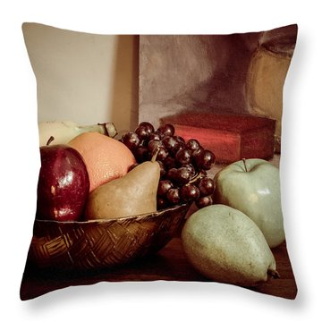 Fruit With Painting Throw Pillow by Brian Caldwell