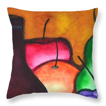 Fruits And Wine Still Life Painting By Saribelle Throw Pillow by Saribelle Rodriguez