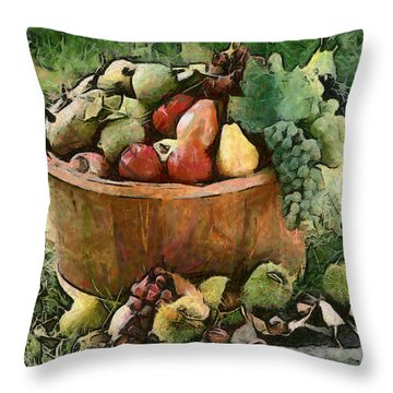 Throw Pillow featuring the painting Fruits by Georgi Dimitrov