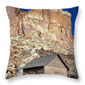 Frutia Schoolhouse Capitol Reef National Park Utah Throw Pillow by Jason O Watson