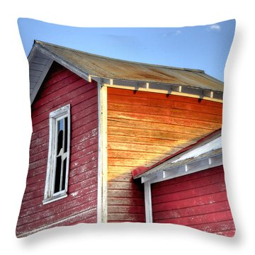 Ft Collins Barn 13502 Throw Pillow by Jerry Sodorff