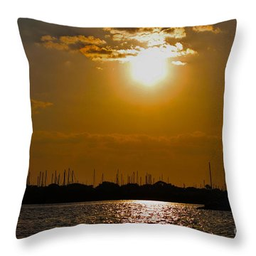 Throw Pillow featuring the photograph Ft. Pierce Florida Docks At Dusk by Janice Rae Pariza