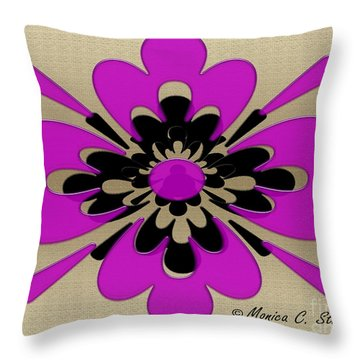 Fuchsia On Gold Floral Design Throw Pillow