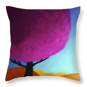 Throw Pillow featuring the painting Fuchsia Tree by Anita Lewis