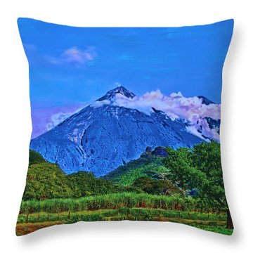 Throw Pillow featuring the painting Fuego Volcano Guatamala by Deborah Boyd