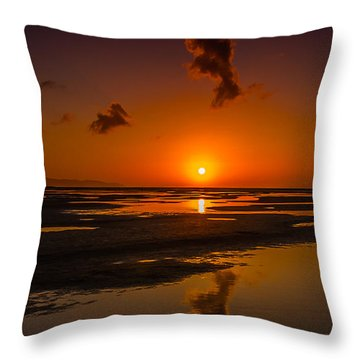 Throw Pillow featuring the photograph Fuerteventuera Beach Sunrise Reflections by Julis Simo