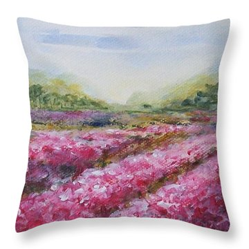 Throw Pillow featuring the painting Full Bloom by Jane  See