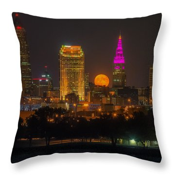 Full Hunter Moon Over Cleveland Throw Pillow