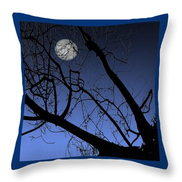 Full Moon And Black Winter Tree Throw Pillow by Ben and Raisa Gertsberg