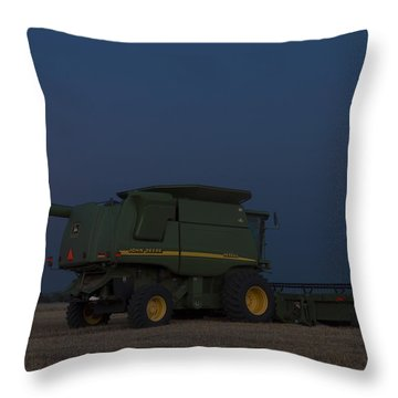 Full Moon And Combine Throw Pillow by Rob Graham