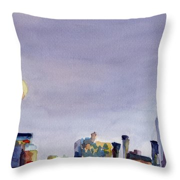 Full Moon And Empire State Building Watercolor Painting Of Nyc Throw Pillow by Beverly Brown