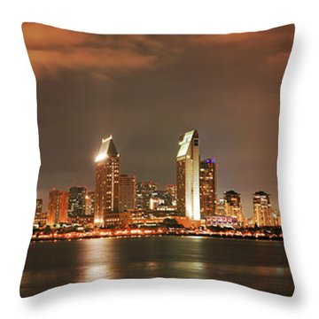 Throw Pillow featuring the photograph Full Moon And San Diego Skyline Panorama by Lee Kirchhevel